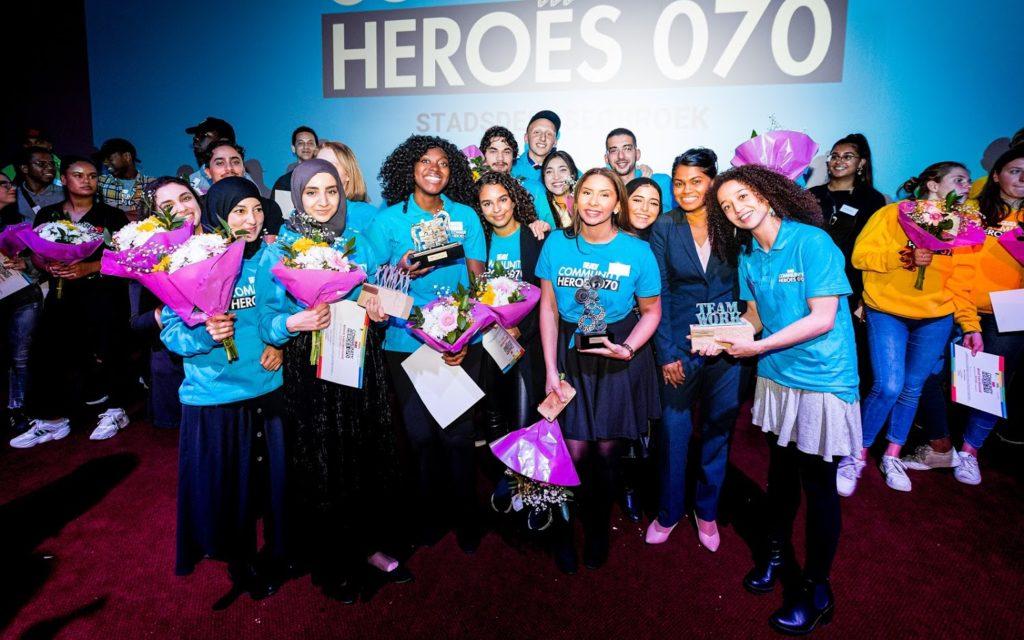 Team Segbroek bij de uitreiking van de Community Heroes 070 traject 1
